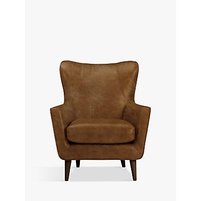 John Lewis & Partners Thomas Leather Wing Chair, Dark Leg