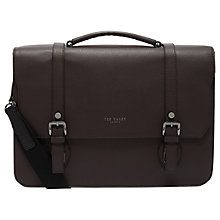 Buy Ted Baker Nevadaa Leather Satchel, Chocolate Online at johnlewis.com