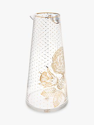 PiP Studio Royal Pip Gold Flower Glass Pitcher, Gold/Clear, 1.7L