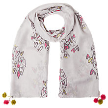Buy White Stuff Large Heart Silk Scarf, Grey Online at johnlewis.com