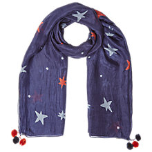 Buy White Stuff Silk Star Scarf, Navy Online at johnlewis.com