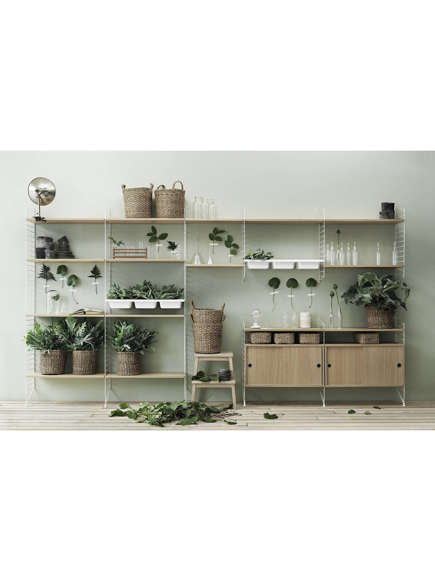 Buy string Storage Cabinet Section with Sliding Doors, Oak Online at johnlewis.com