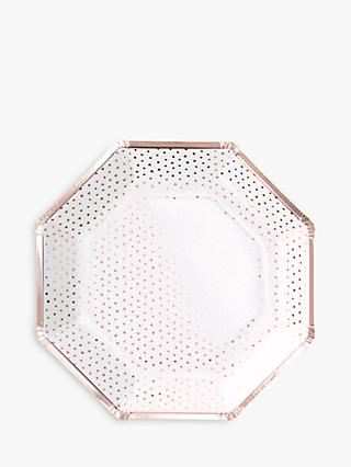 Ginger Ray Spotty Plates, Rose Gold
