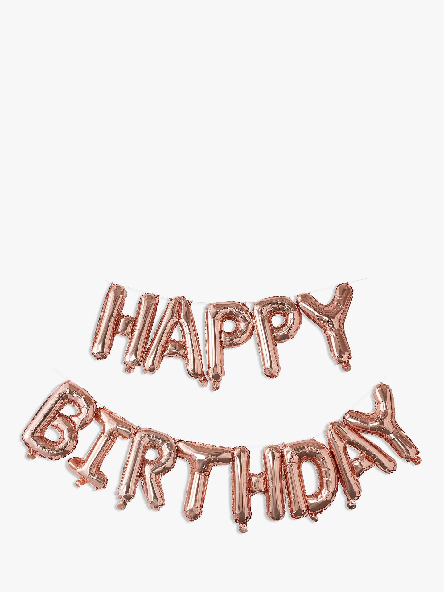 Ginger Ray Happy Birthday Balloon Bunting Rose Gold At John Lewis