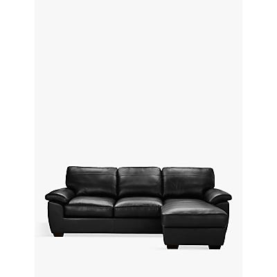 John Lewis Camden Leather Medium Sofa Bed with RHF Storage Chaise, Dark Leg