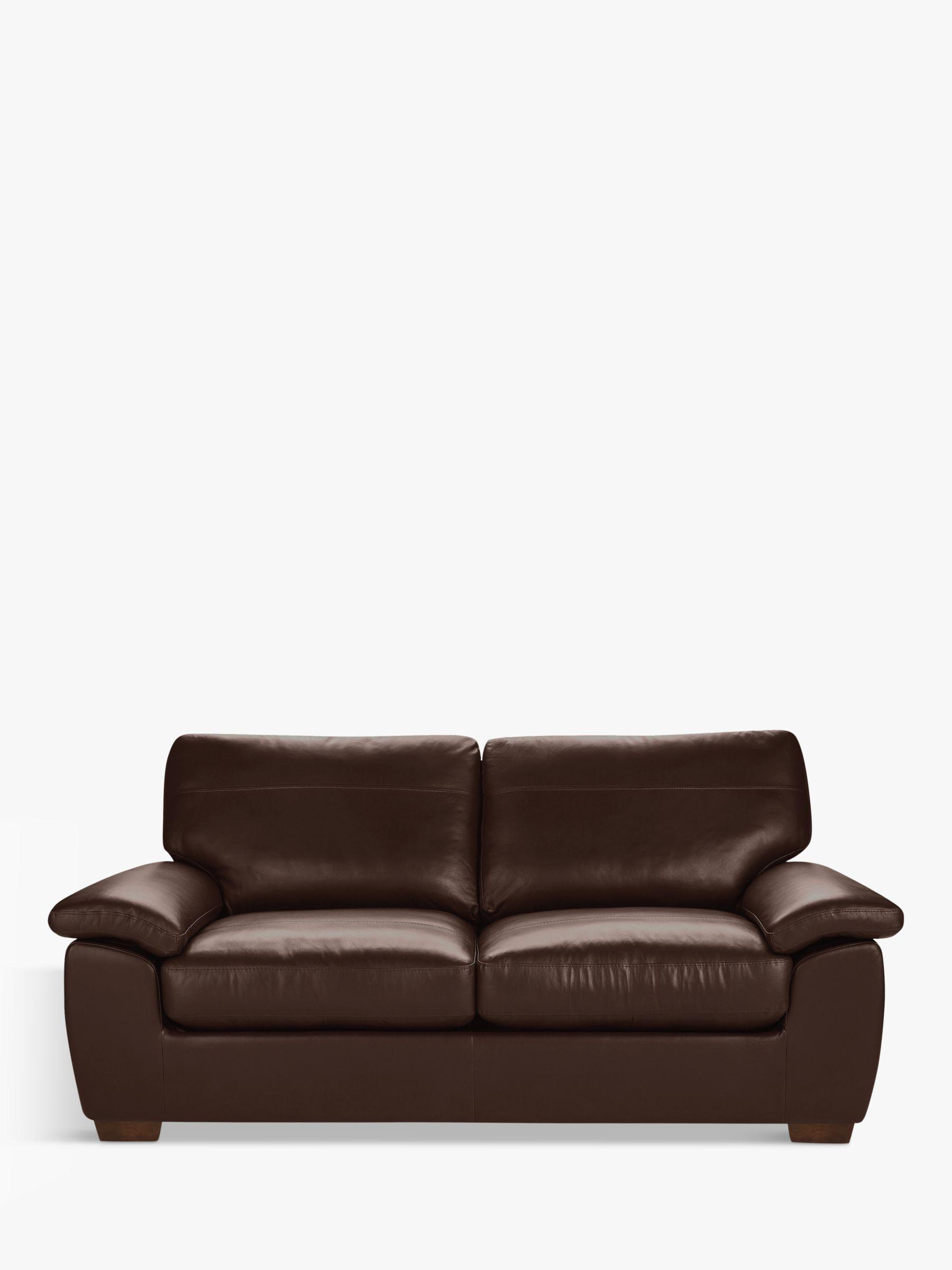 John Lewis & Partners Camden Large 3 Seater Leather Sofa, Dark Leg, Nature  Brown