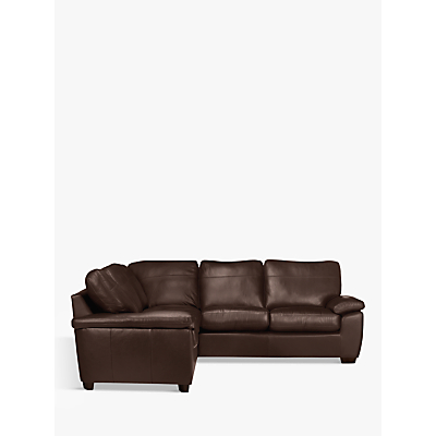John Lewis Camden Leather Corner Sofa, Dark Leg