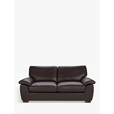 John Lewis Camden Large 3 Seater Leather Sofa, Dark Leg