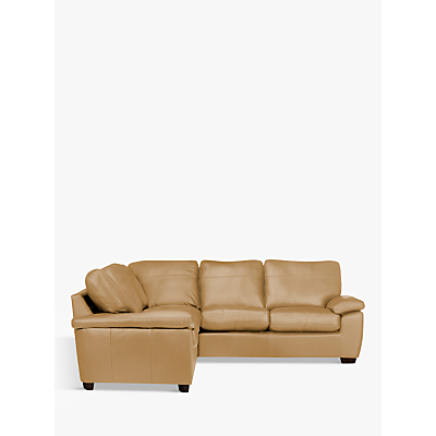 John Lewis Camden Leather Corner Sofa, Dark Leg