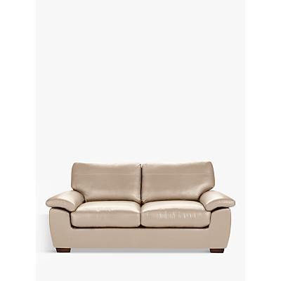 John Lewis Camden Large 3 Seater Leather Sofa, Dark Leg