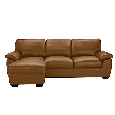 John Lewis Camden Leather Medium Sofa Bed with LHF Storage Chaise, Dark Leg