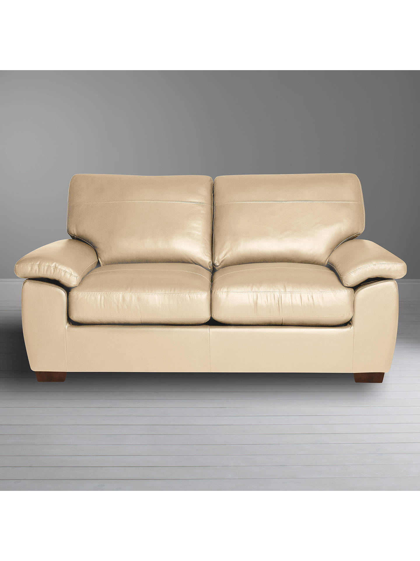 Buy John Lewis & Partners Camden Medium 2 Seater Leather Sofa, Dark Leg, Contempo Ivory Online at johnlewis.com