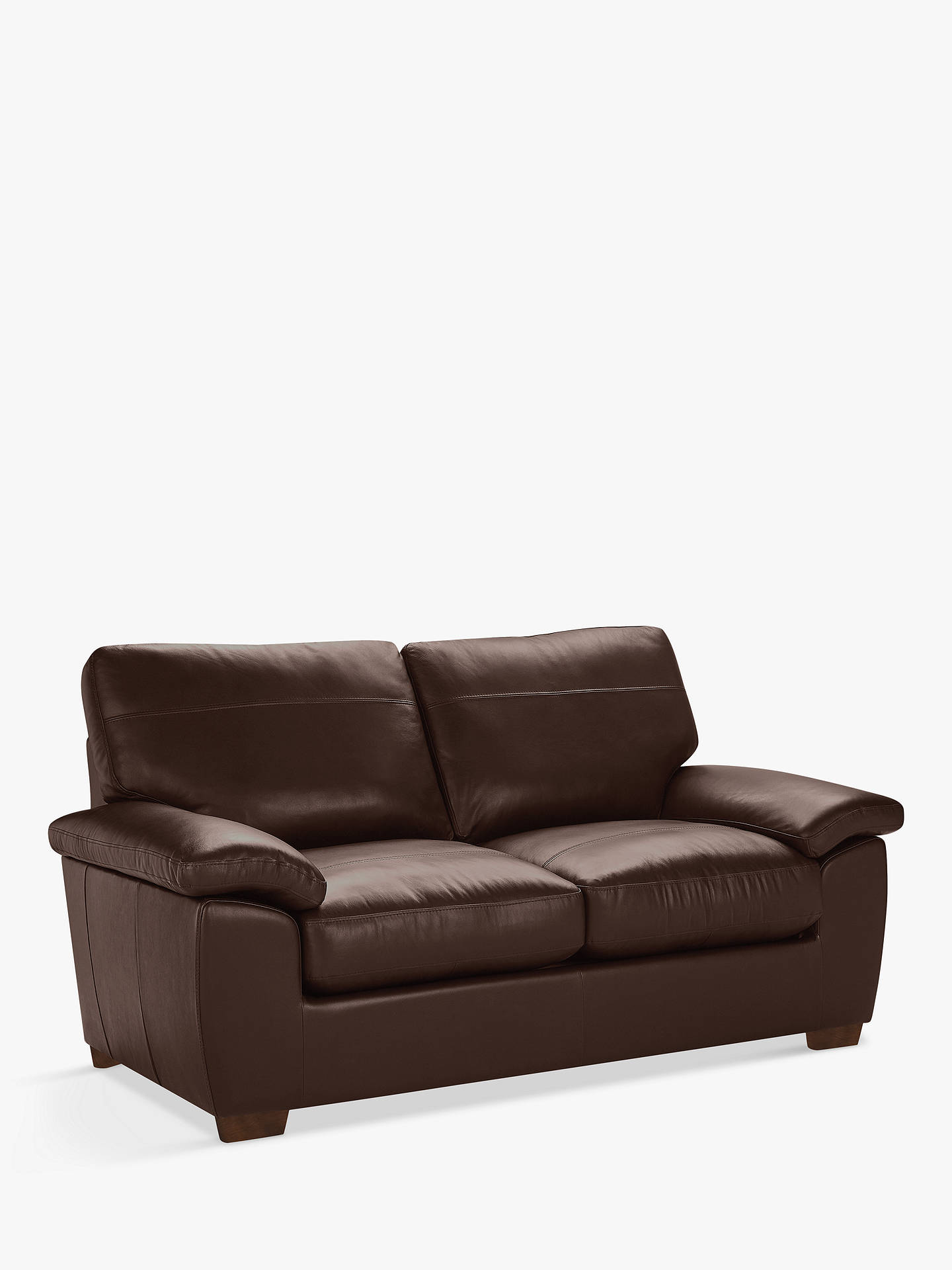 John Lewis & Partners Camden Medium 2 Seater Leather Sofa, Dark Leg, Nature  Brown