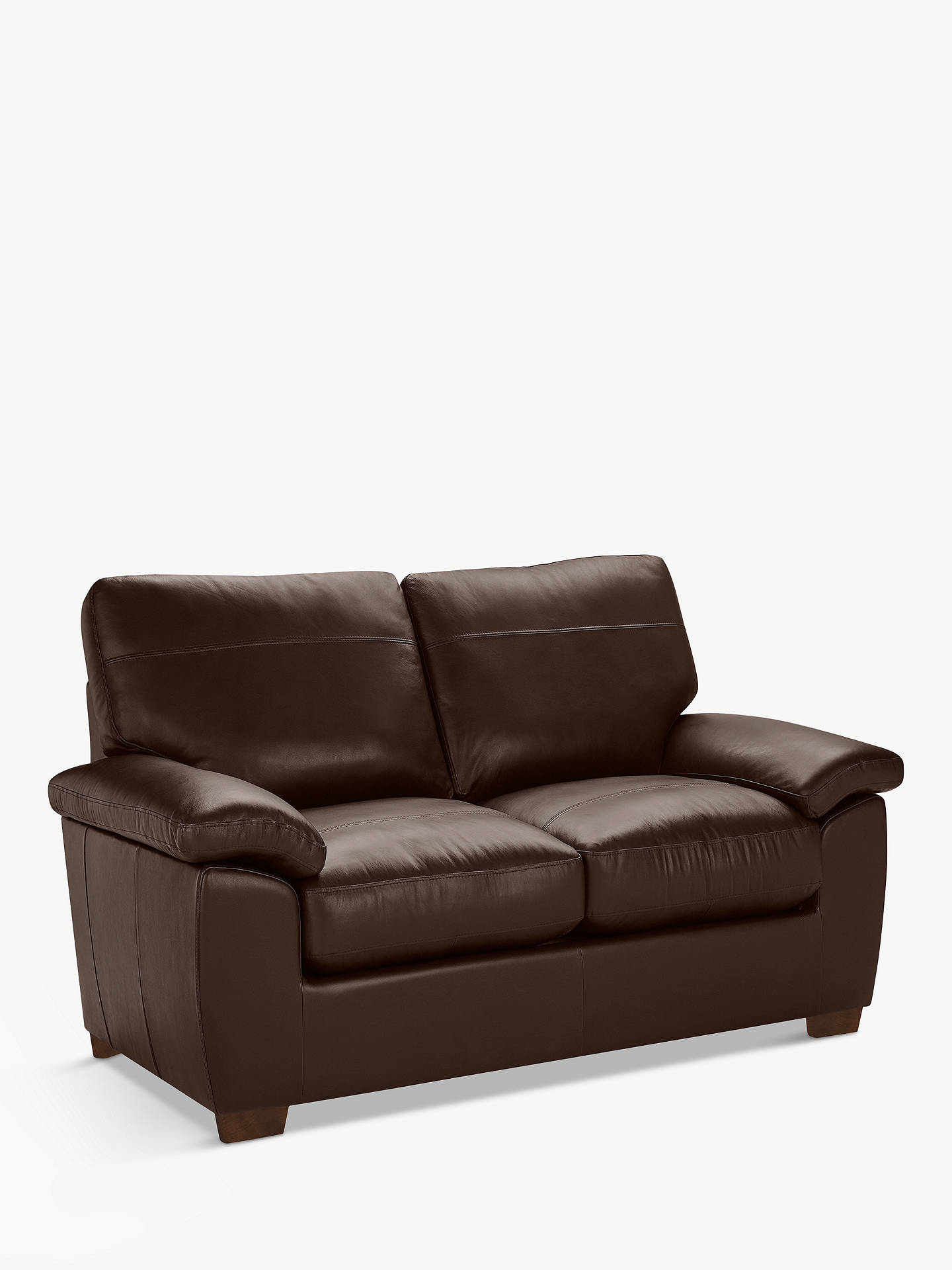 Buy John Lewis & Partners Camden Small 2 Seater Leather Sofa, Dark Leg, Contempo Dark Chocolate Online at johnlewis.com