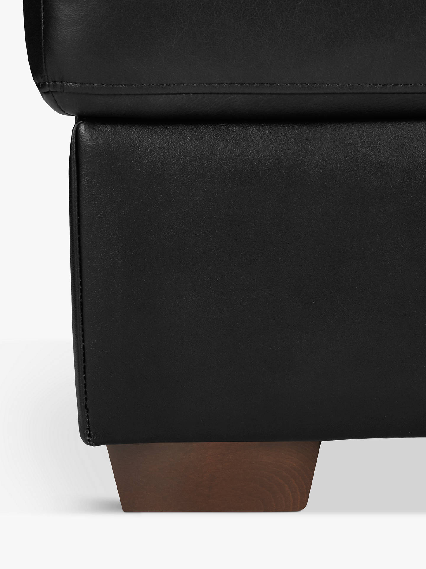 Buy John Lewis & Partners Camden Leather Storage Footstool, Dark Leg, Contempo Black Online at johnlewis.com
