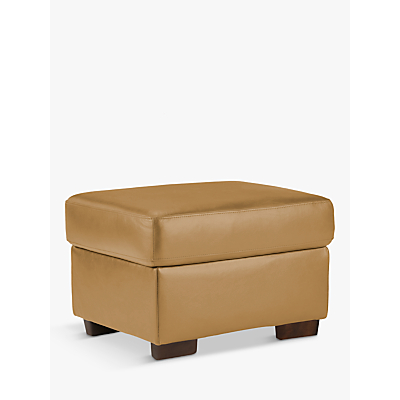 John Lewis Camden Leather Storage Footstool, Dark Leg