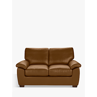 John Lewis Camden Small 2 Seater Leather Sofa, Dark Leg
