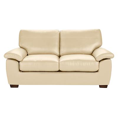 John Lewis Camden Leather Medium Sofa Bed, Dark Leg
