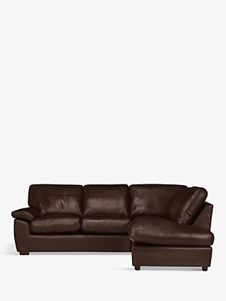 John Lewis & Partners Camden Leather RHF Chaise Corner End Sofa, Dark Leg