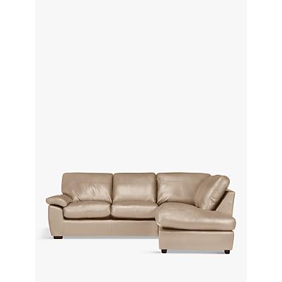 John Lewis Camden Leather RHF Chaise Corner End Sofa, Dark Leg