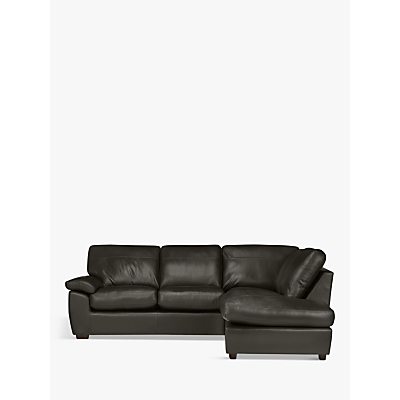 John Lewis Camden Leather RHF Chaise Corner End Sofa, Dark Leg