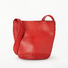 Buy AND/OR Isabella Leather Whipstitch Large Bucket Bag, Red Online at johnlewis.com