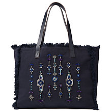 Buy AND/OR Avalon Jewelled Tote Bag, Navy Online at johnlewis.com
