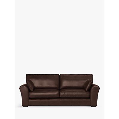 John Lewis Leon Grand 4 Seater Leather Sofa, Dark Leg, Nature Brown