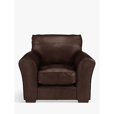 John Lewis Leon Leather Armchair, Dark Leg, Nature Brown