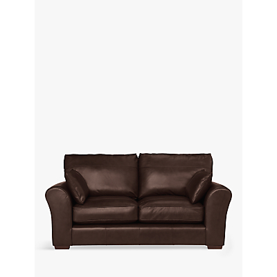 John Lewis Leon Medium 2 Seater Leather Sofa, Dark Leg, Nature Brown