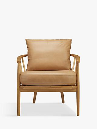 Croft Collection Frome Leather Armchair, Oak Leg, Sellvagio Parchment