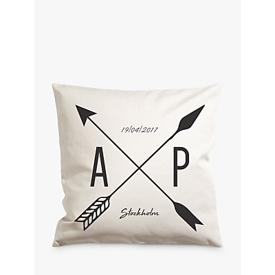 A Piece Of Personalised Arrow Cushion, White