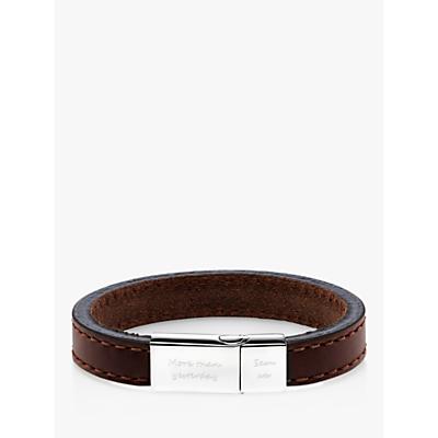 Under the Rose Personalised Men's Engraved Bracelet, Brown