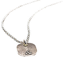 Buy Morgan & French Personalised Fingerprint Square Chain Necklace, Silver Online at johnlewis.com