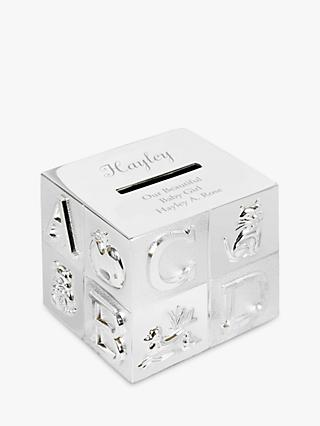 StompStamps Personalised Alphabet Moneybox, Silver