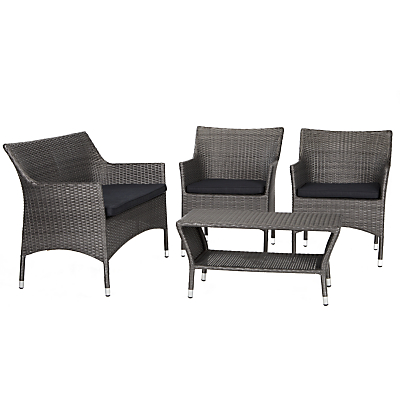 John Lewis Almeria Outdoor 4 Seater Table and Chairs Lounging Set, Grey