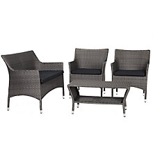Buy John Lewis Almeria Outdoor 4 Seater Table and Chairs Lounging Set, Grey Online at johnlewis.com
