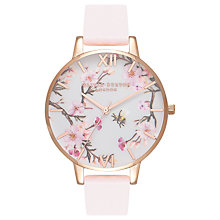 Buy Olivia Burton OB16EX103 Women's Bee Blossom Leather Strap Watch, Pink/Gold Online at johnlewis.com