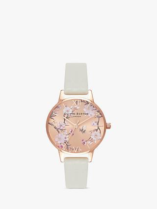 Olivia Burton OB16EX102 Women's Bee Blossom Leather Strap Watch, Grey/Gold