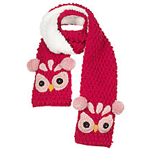 Buy Fat Face Children's Owl Scarf, Blue/White Online at johnlewis.com