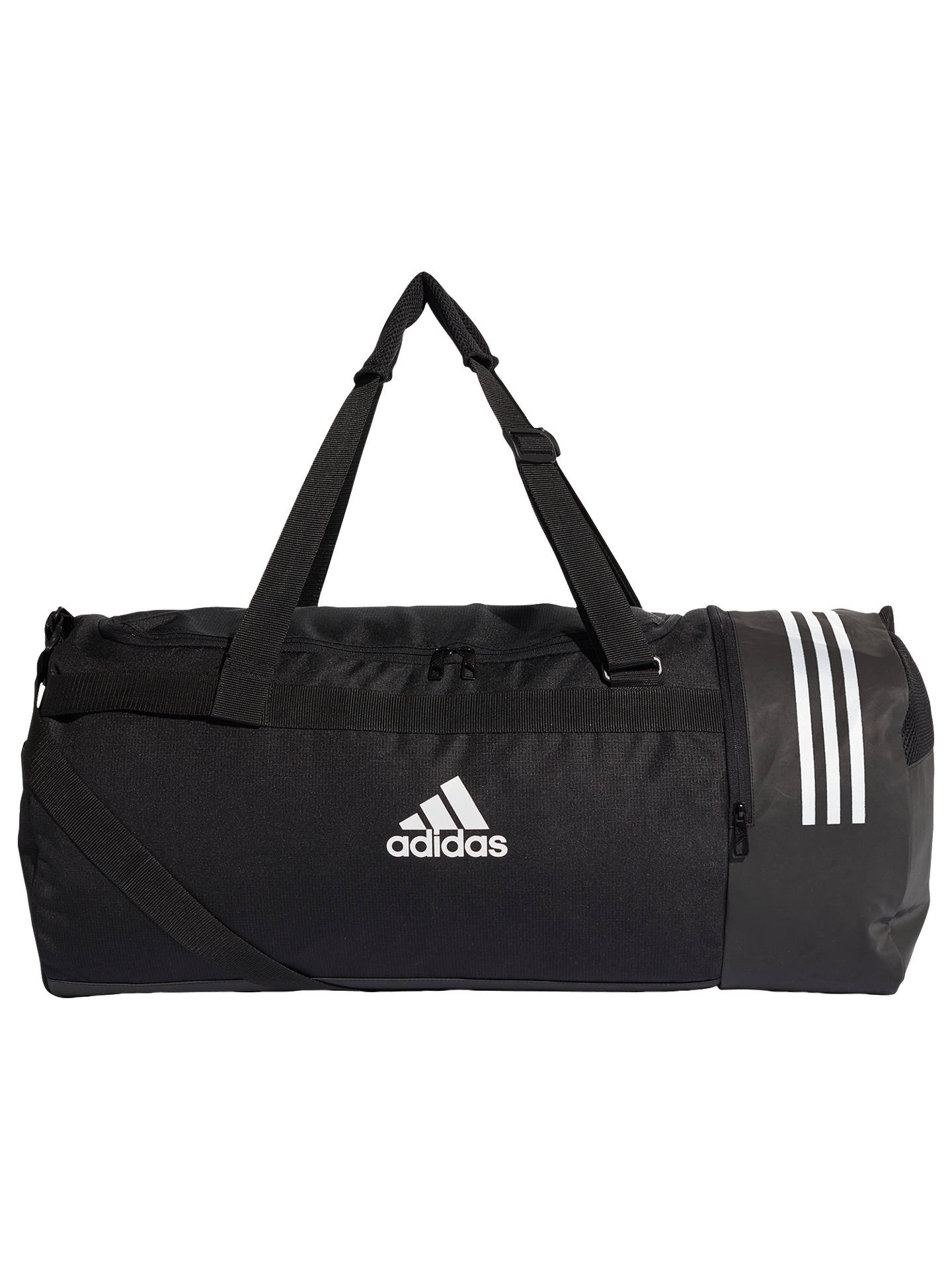 Buyadidas Convertible 3-Stripes Duffle Bag, Large, Black Online at  johnlewis.com ... c6022ee12d
