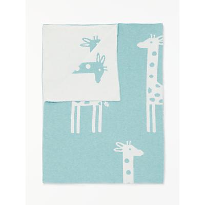 Image of John Lewis & Partners Giraffe Baby Pram Blanket, Teal