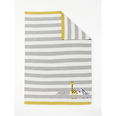 John Lewis & Partners Baby Safari Stripe Blanket, Grey