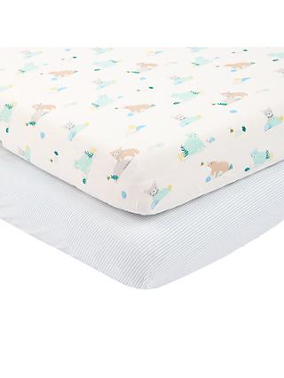 John Lewis & Partners Baby Bear Cotbed Fitted Sheet, 140 x 70cm, Pack of 2