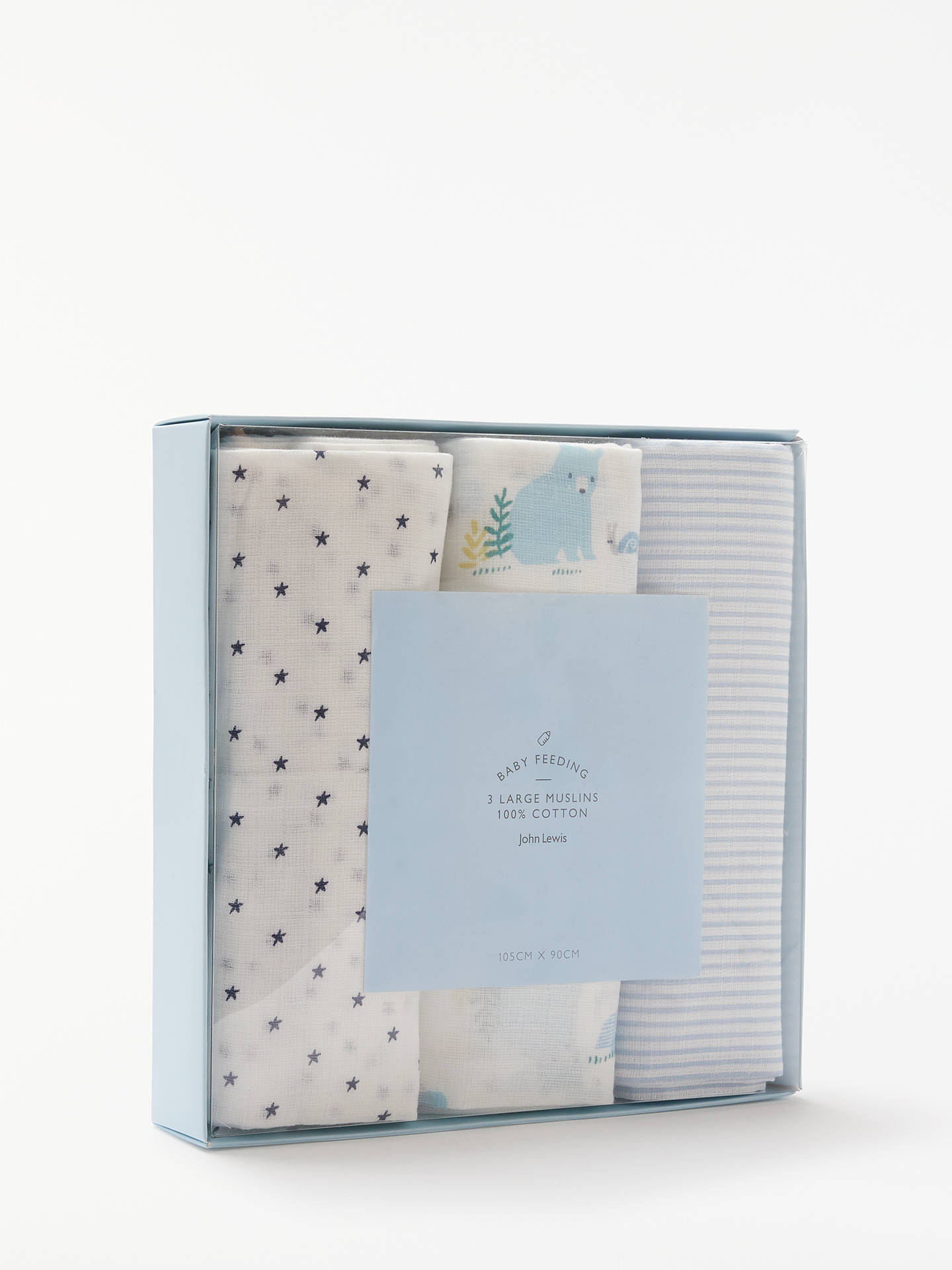 Buy John Lewis & Partners Classic Bear Muslin Cloths, Pack of 3, Blue/White Online at johnlewis.com
