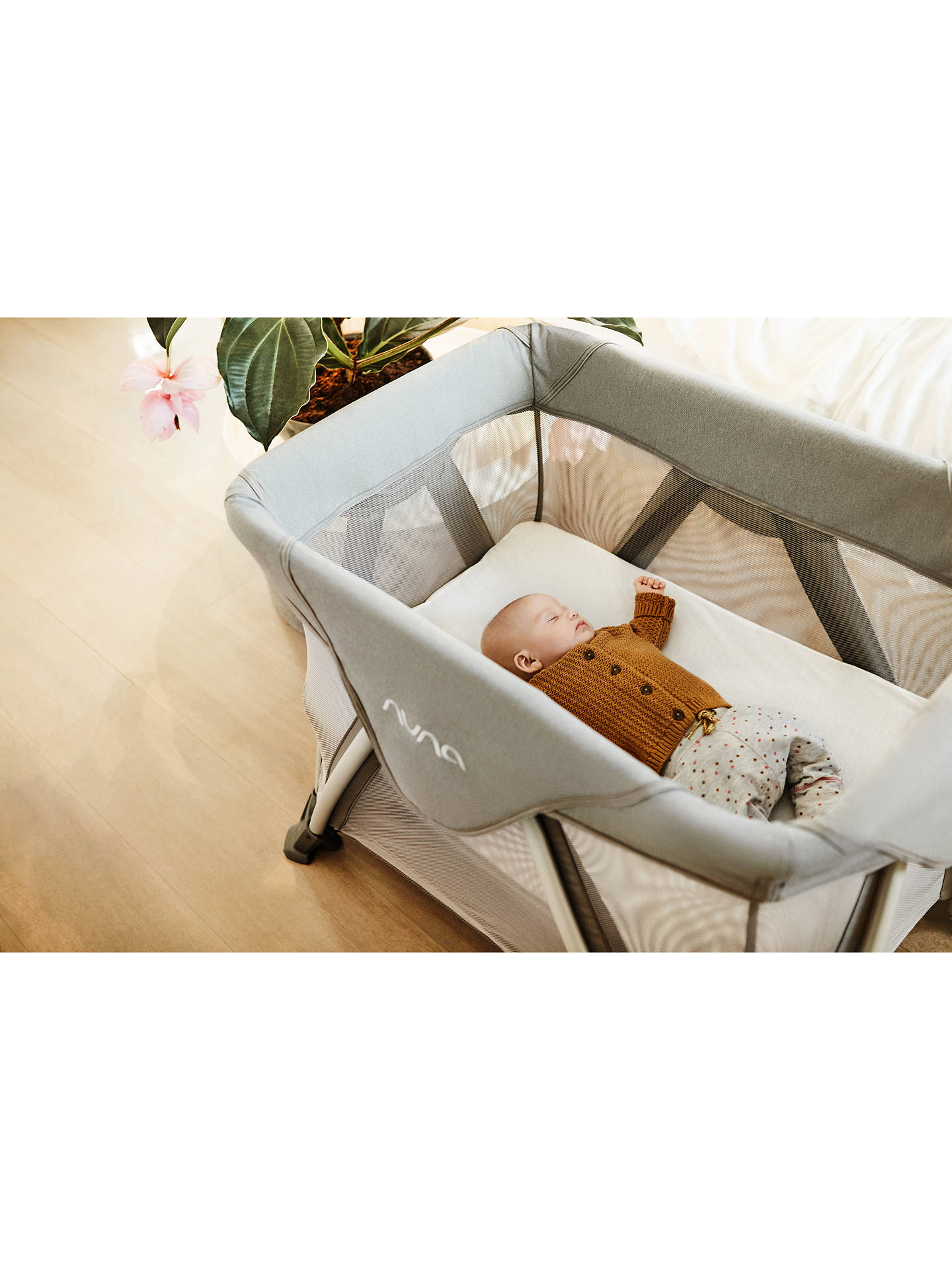 BuyNuna Sena Aire Travel Cot, Frost Grey Online at johnlewis.com