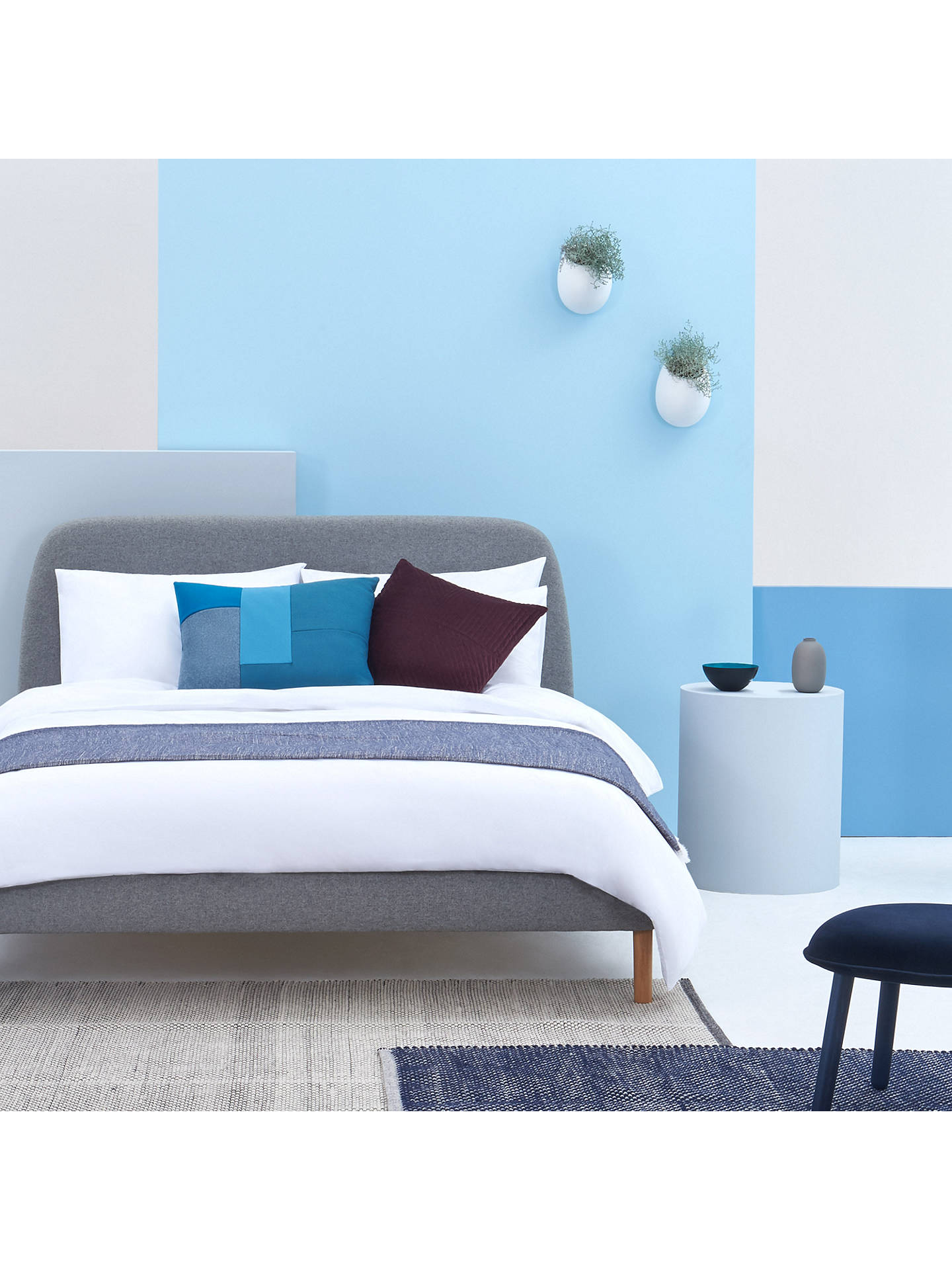 Buy SIMBA Upholstered Bed Frame with Headboard, Double, Grey Online at johnlewis.com