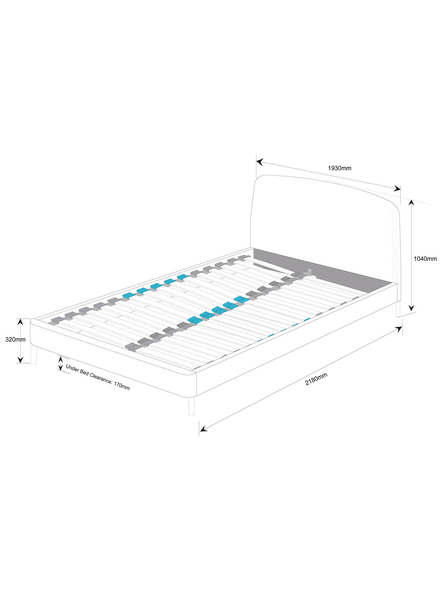 BuySIMBA Hybrid® Upholstered Bed Frame with Headboard, Super King Size, Grey Online at johnlewis.com