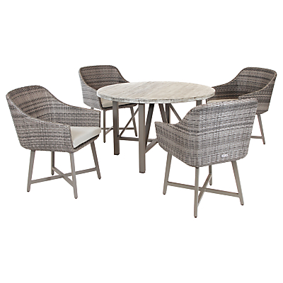 KETTLER LaMode 4 Seater Garden Dining Table and Chairs Set, Olive Grey
