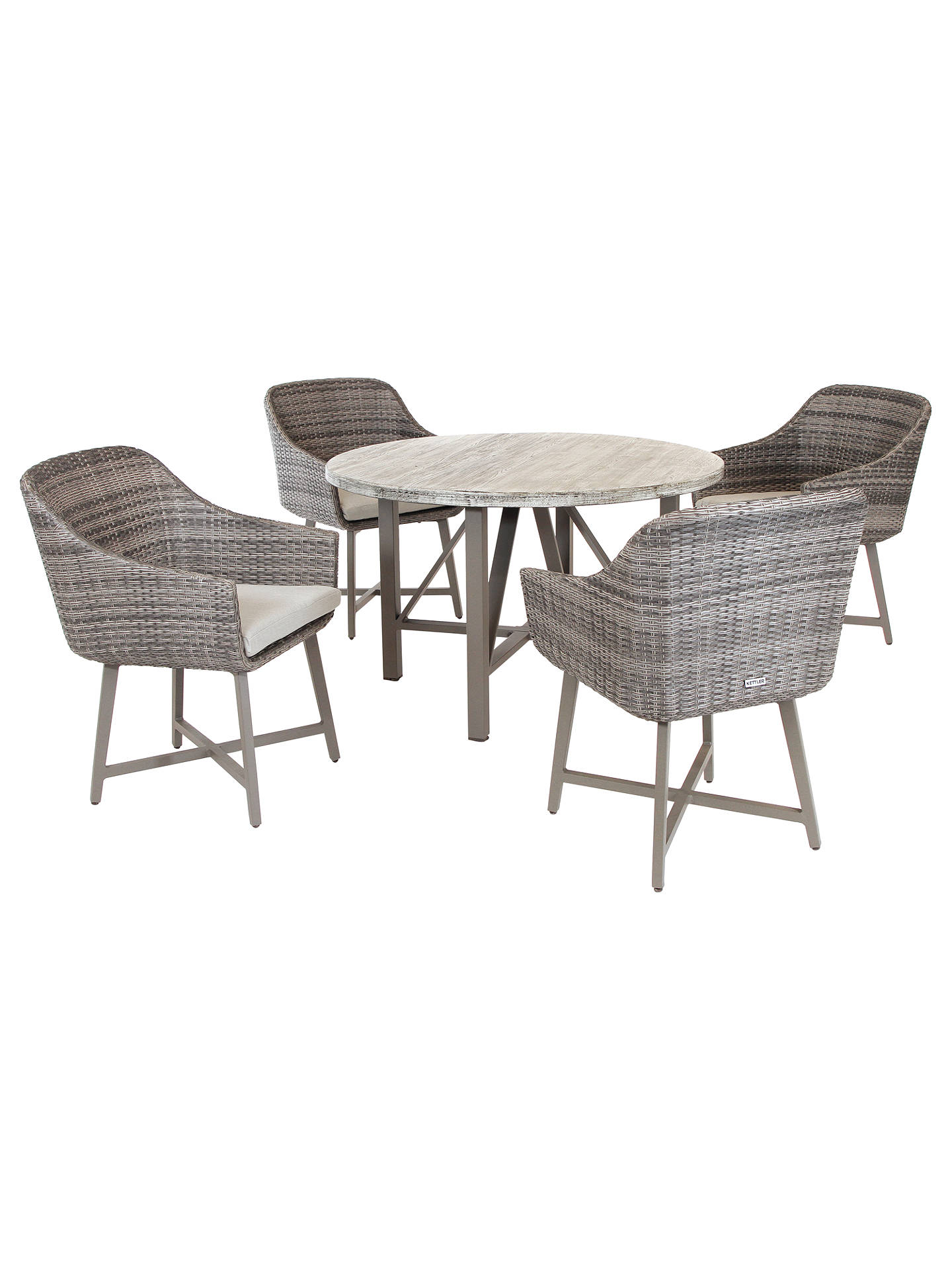 b652e2cd09fd Buy KETTLER LaMode 4 Seater Garden Dining Table and Chairs Set, Olive Grey  Online at ...